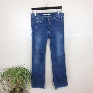 [ Joe's Jeans] Distressed, Frayed Hem-Petite Flare